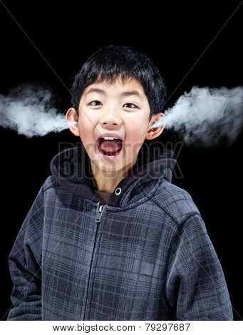 Emotional Boy With Steam Coming From Ears