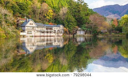 The Reflection Of Lake Kinrinko In Yufuin Town Oita, Japan.