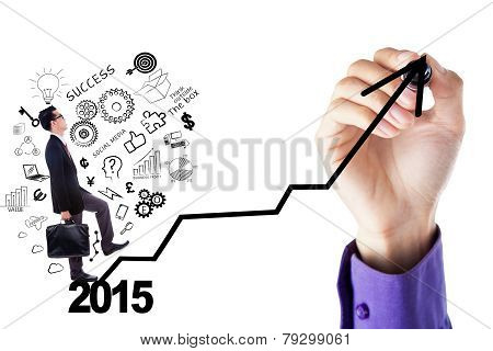 Businessman With Doodle Climbing A Chart