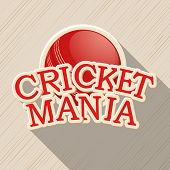 stock photo of cricket shots  - Red ball for Cricket Mania on stylish background - JPG