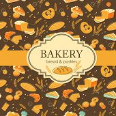 stock photo of pastry chef  - Vintage bakery background with bread and other pastries - JPG