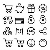 stock photo of cart  - Shopping online vector icons  - JPG