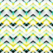 image of chevron  - Multicolor hand drawn pattern with brushed zigzag lines - JPG