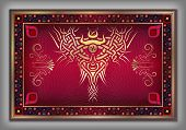 pic of macrame  - Chinese carpet with vintage Celtic gold pattern over red background in vector - JPG