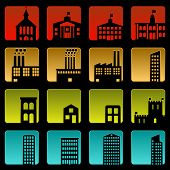 stock photo of school building  - Set of sixteen simple beveled building icons - JPG