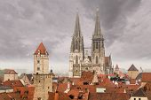 pic of bavaria  - View from roof of Lutheran church tower over the roofs of the medieval town of Regensburg Bavaria Germany - JPG