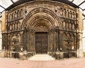 foto of bavaria  - Stitched panorama of the entrance door of St Jacob Monastery in the medieval town of Regensburg Bavaria Germany - JPG