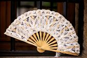 picture of ivory  - Ivory lace Spanish folding fan in Santillana del Mar in Cantabria - JPG