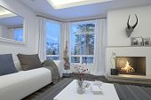 foto of cozy hearth  - 3D Rendering of Cozy living room interior with an upholstered white couch and burning fire surmounted by a trophy alongside a patio door and window - JPG