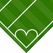 foto of offside  - Heart drawn in the lines of a football field - JPG