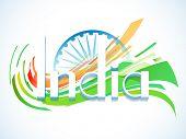 stock photo of ashoka  - 3D text India with Ashoka Wheel for Indian Republic Day celebration - JPG