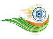 stock photo of ashoka  - Indian Republic Day celebration with Ashoka Wheel and national flag colors on abstract background - JPG