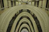 picture of symmetry  - architecture art  symmetry railing hotel floor wh?te ** Note: Visible grain at 100%, best at smaller sizes - JPG