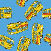 picture of motor-bus  - school bus seamless pattern cartoon illustration - JPG