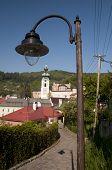 stock photo of banska  - The old historical candelabre on the street in  Banska Stiavnica - JPG