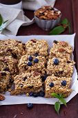 stock photo of pecan  - Vegan baked oatmeal squares with pecans - JPG