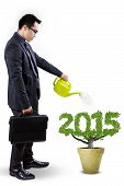 image of nurture  - Young entrepreneur with briefcase watering a tree shaped number 2015 symbolizing investment for future - JPG