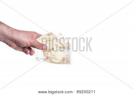 Hand Giving Fifty Euro Fan