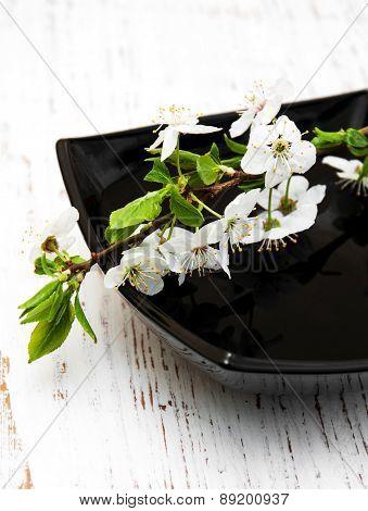 White Branch Cherry Blossom In Bowl