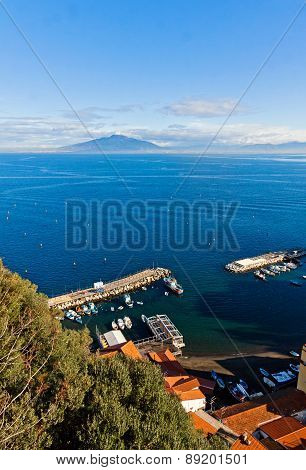 Sorrento City, Gulf Of Naples And Mount Vesuvius, Italy
