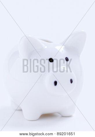 White piggy bank on white background.