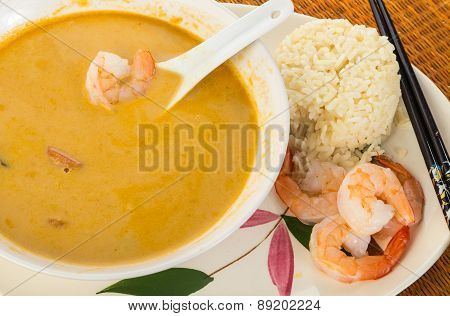 Thai Coconut Soup With Steamed Rice And Shrimp