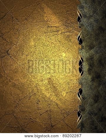 Element For Design. Template For Design. Grunge Gold Background With A Ragged Edge With A Pattern