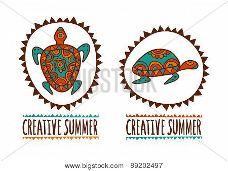 Hand Drawn Turtle Tribal Symbol. Vector Illustration Isolated On White Background. Decorative Multic