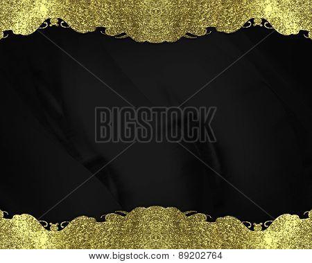 Element For Design. Template For Design. Black Grunge Texture With Gold Frame