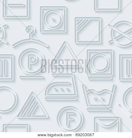 White paper with outline extrude effect. 3d laundry seamless background. Halftone vector EPS10.