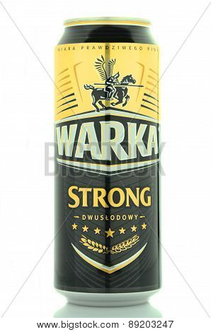 Warka strong beer isolated on white background