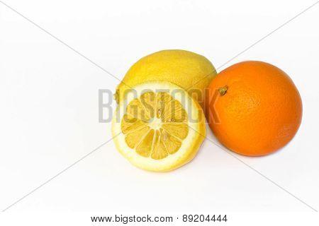 lemon and orange isolated on white background