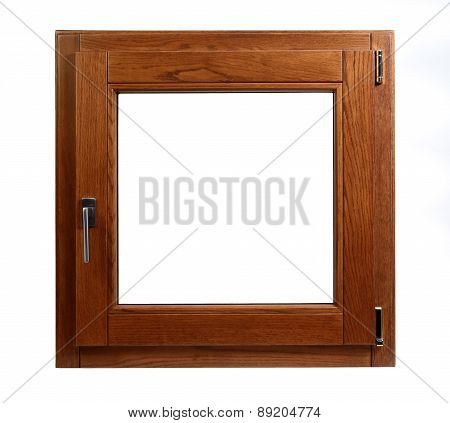 Wooden Window Closed On A White