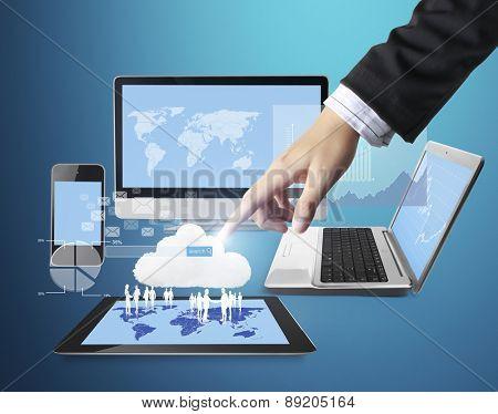 Hand pushing Technology of businessmen