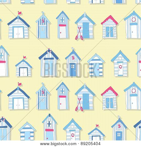 Hand Drawn Beach Huts in a Seamless Pattern