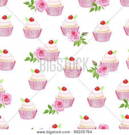 Sweet Cupcakes Vector Seamless Pattern