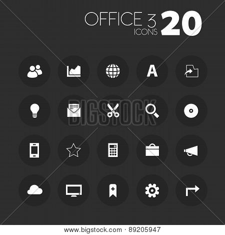 Thin office 3 icons on dark gray