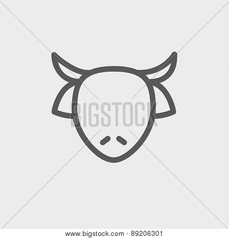 Cow head thin line icon