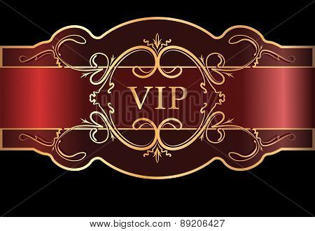 VIP design. Black and red background with vintage gold elements. Vector illustration.