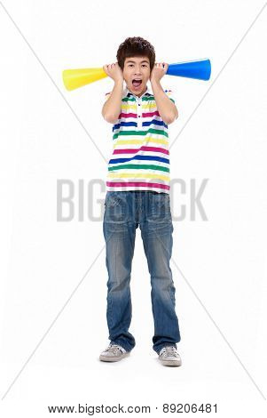 Full body portrait of young man holding announcement