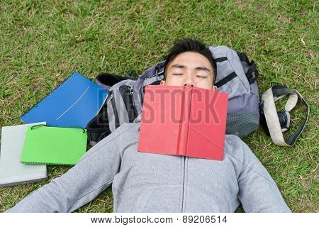 Portrait of college student relaxing on grass at university campus