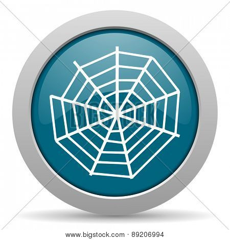 spider web blue glossy web icon