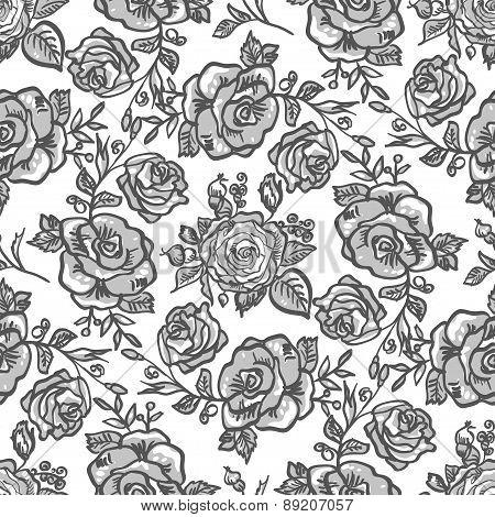 pattern grey rose branch
