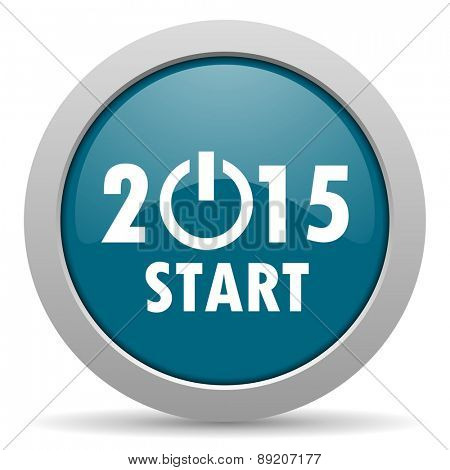 new year 2015 blue glossy web icon