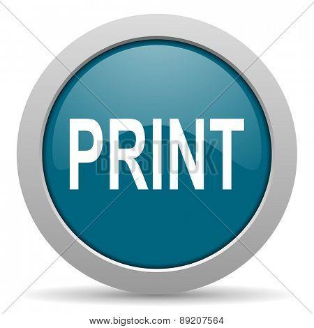 print blue glossy web icon