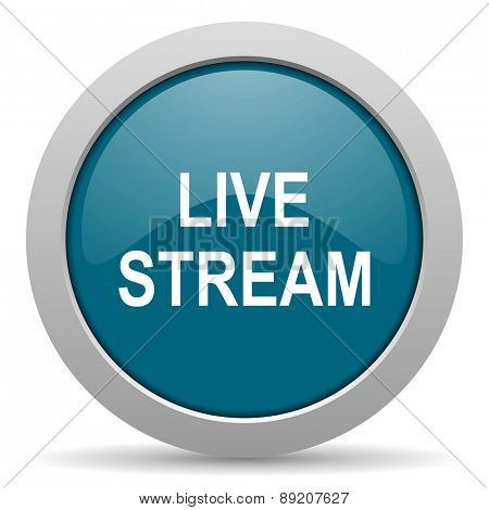live stream blue glossy web icon
