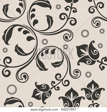 Seamless curly lowers beige vector pattern.