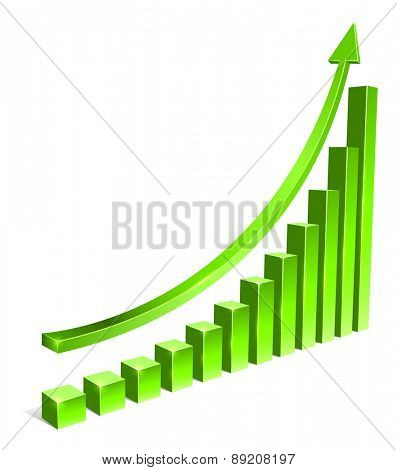 Green bar increasing graph with arrow vector template.