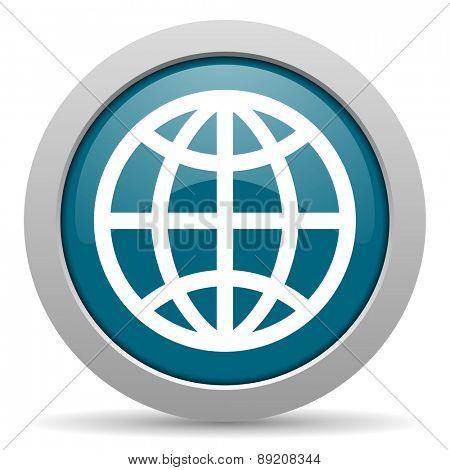 earth blue glossy web icon