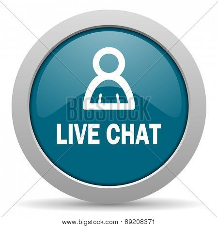 live chat blue glossy web icon